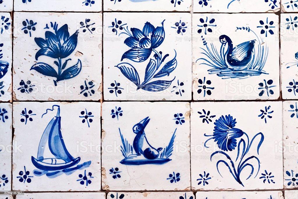 Antique Delft Tiles stock photo