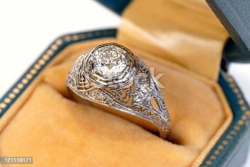 An antique diamond ring with the diamond set in a platinum basket setting.