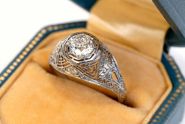 antique diamond ring - ring jewelry stock photos and pictures