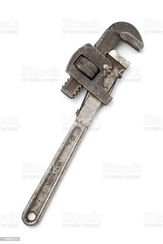 Antique Dirty Rusty Pipe Wrench stock photo