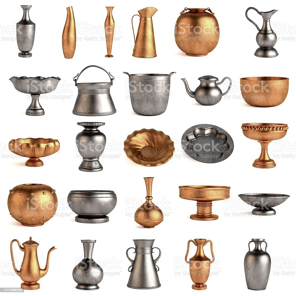 antique dishes stock photo
