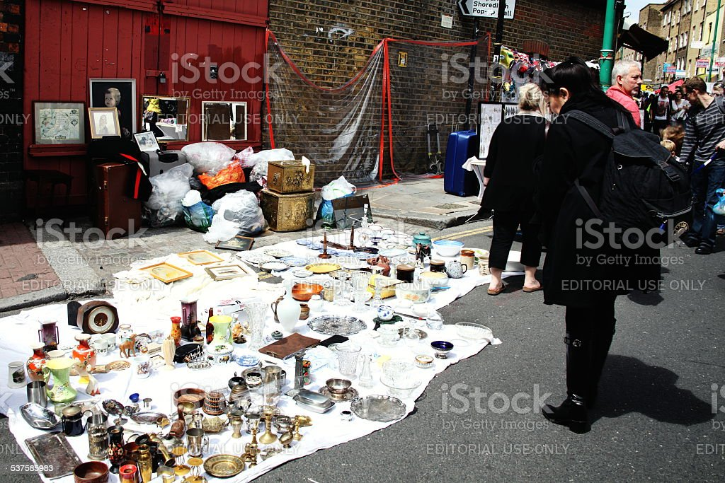 Antique Display, Brick Lane Market stock photo
