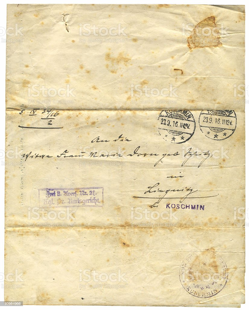 Antique document, 1916 royalty-free stock photo