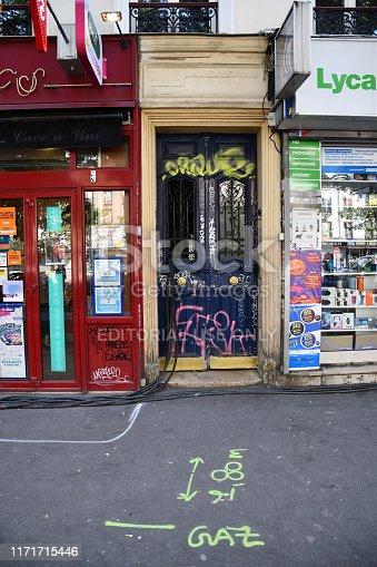 Paris, France - June 26, 2019: Elegant entrance of retro building in Paris France. Architecture of Paris France. Antique building exterior.