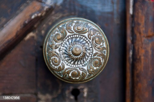 Antique brass door knob.