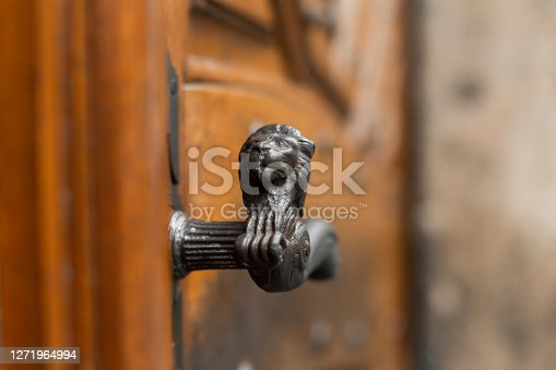 Antique doorknob with the figure of a lion. Close-up.