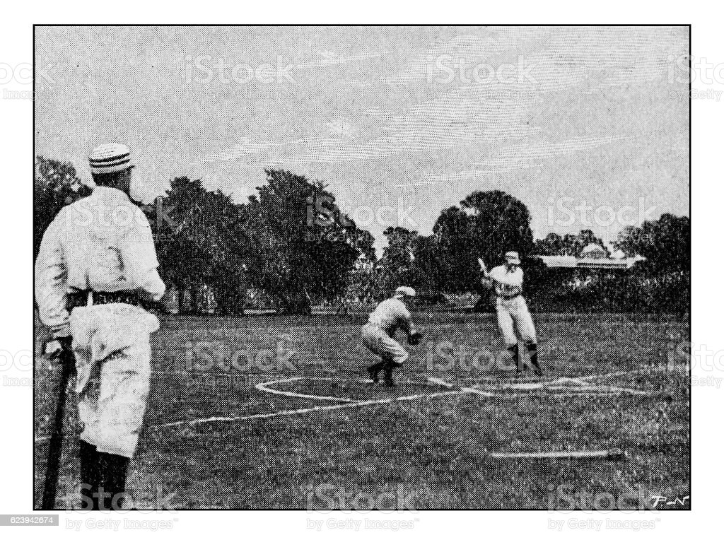 Antique dotprinted photograph of Hobbies and Sports: Baseball stock photo