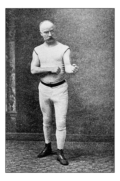 Antique dotprinted photograph of Hobbies and Sports: Boxing stock photo