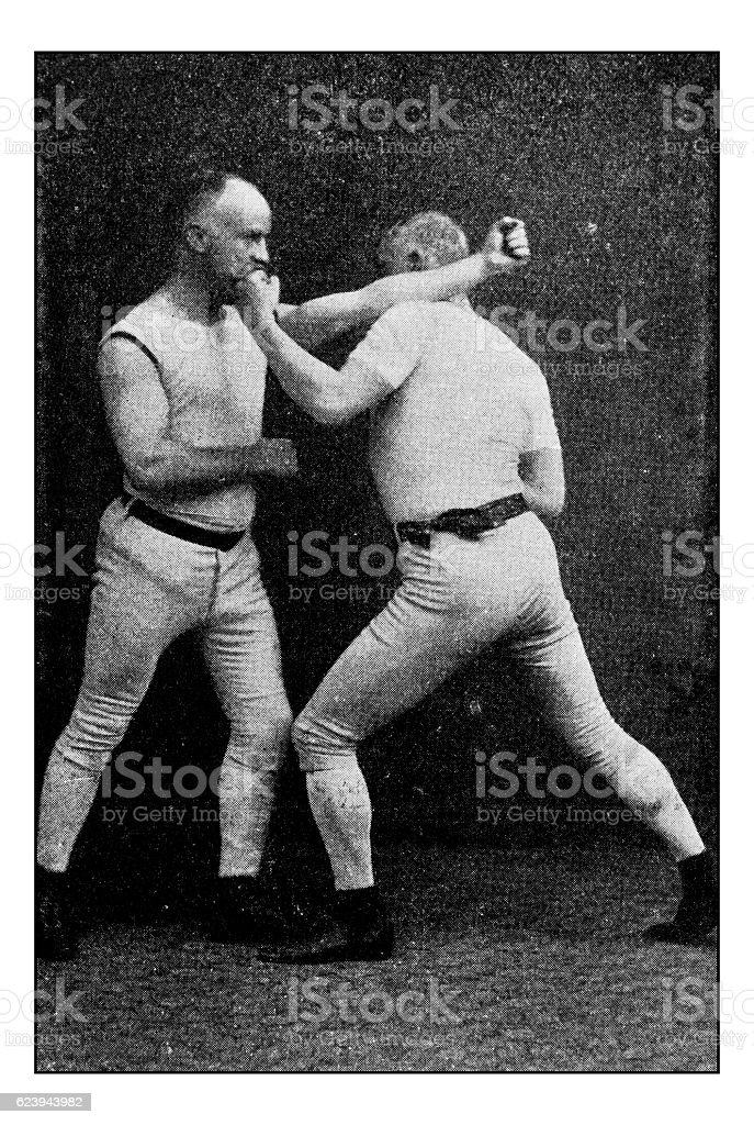 Antique dotprinted photograph of Hobbies and Sports: Boxing - foto de acervo