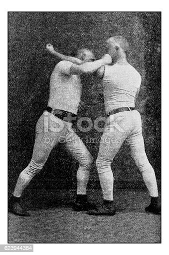 Antique dotprinted photograph of Hobbies and Sports: Boxing