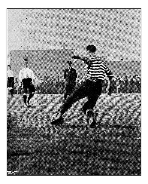 antique dotprinted photograph of hobbies and sports: football / rugby - photos de rugby photos et images de collection