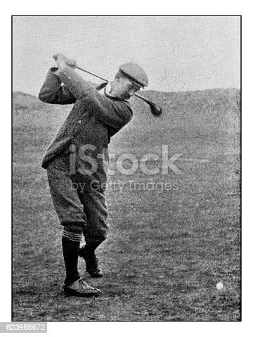 Antique dotprinted photograph of Hobbies and Sports: Golf