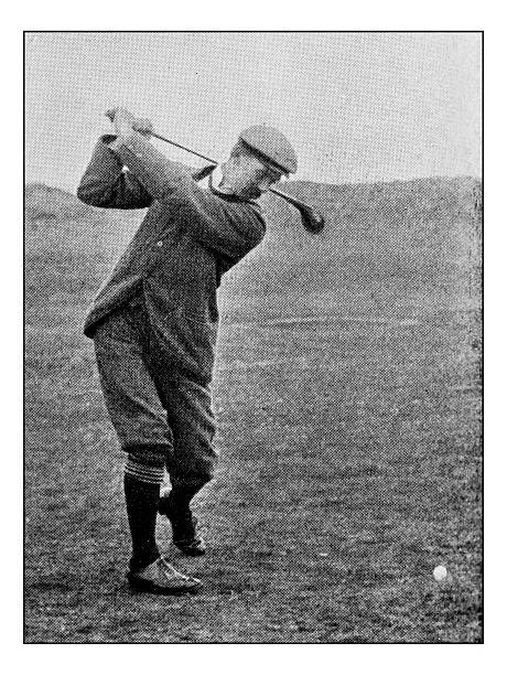 antique dotprinted photograph of hobbies and sports: golf - ゴルフの写真 ストックフォトと画像
