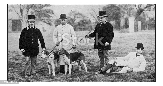 Antique dotprinted photograph of Hobbies and Sports: Men with dogs