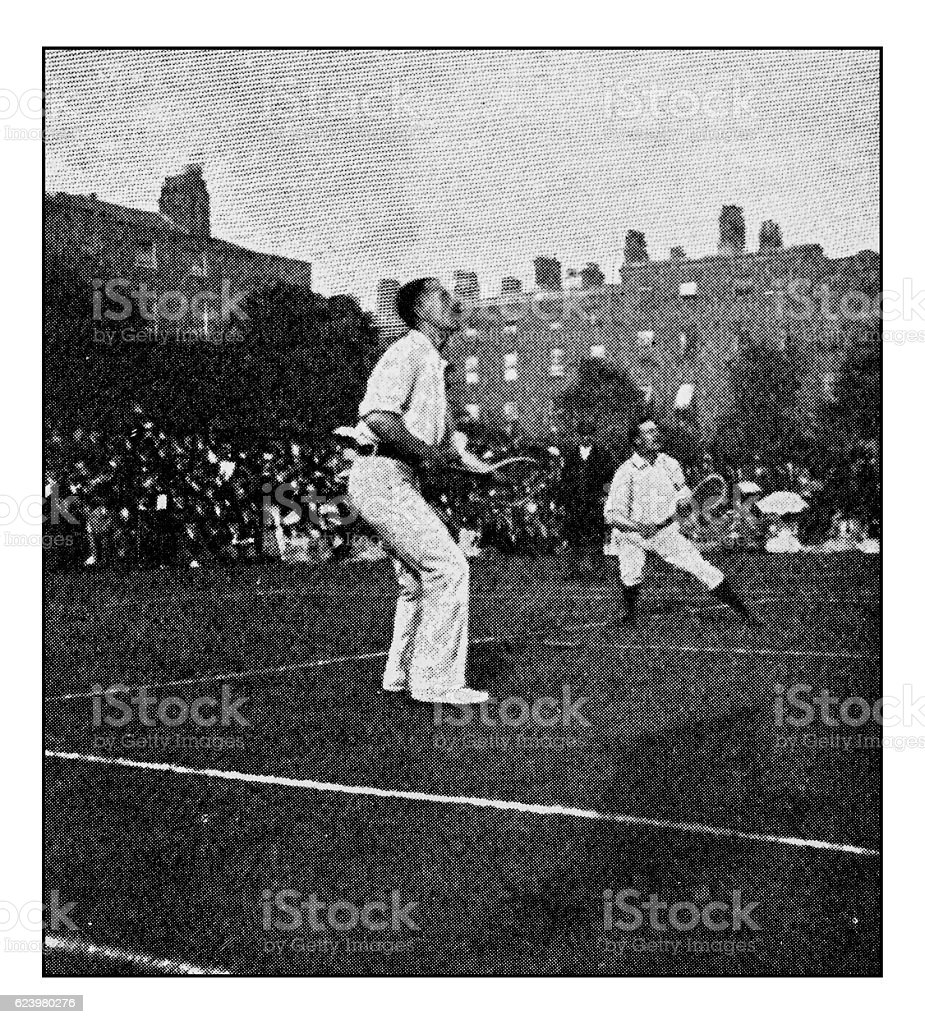 Antique dotprinted photograph of Hobbies and Sports: Tennis stock photo