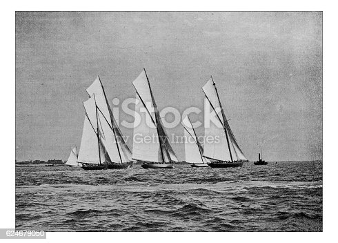 501889762istockphoto Antique dotprinted photograph of Hobbies and Sports: Yachting sailing boat 624679050