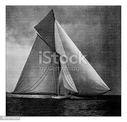 501889762istockphoto Antique dotprinted photograph of Hobbies and Sports: Yachting sailing boat 624679324