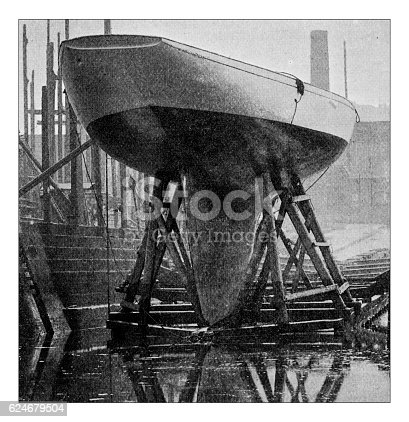 501889762istockphoto Antique dotprinted photograph of Hobbies and Sports: Yachting sailing boat 624679504