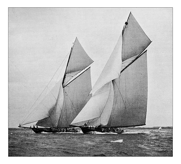 antique dotprinted photograph of hobbies and sports: yachting sailing boat - nautische malerei stock-fotos und bilder