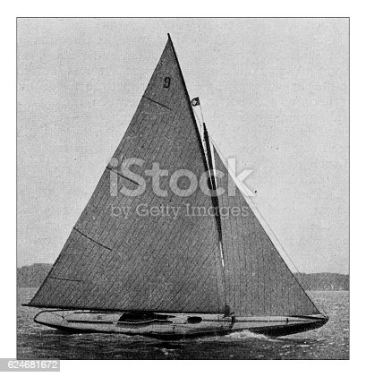 501889762istockphoto Antique dotprinted photograph of Hobbies and Sports: Yachting sailing boat 624681672