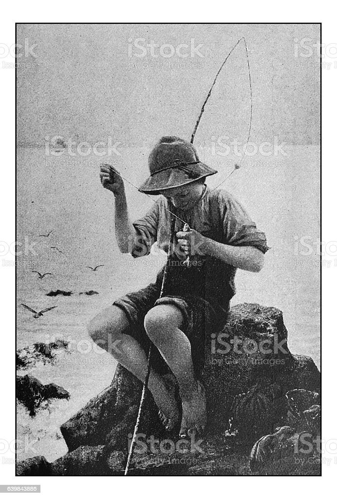 Antique dotprinted photograph of painting: Boy fisherman stock photo
