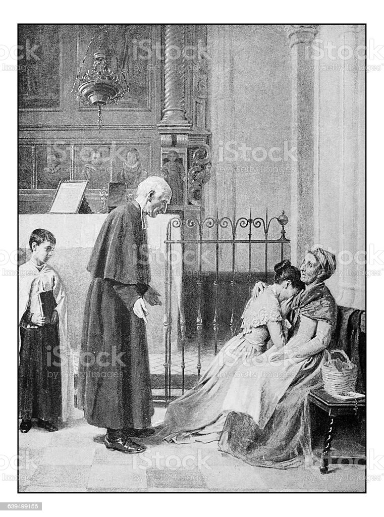 Antique dotprinted photograph of painting: Church scene stock photo