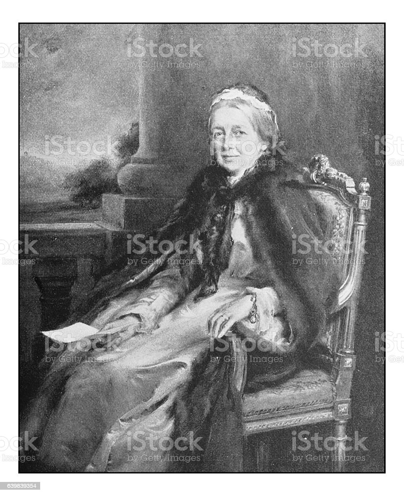Antique dotprinted photograph of painting: Countess Fitzwilliam stock photo