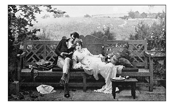 antique dotprinted photograph of painting: couple - fotobuch stock-fotos und bilder