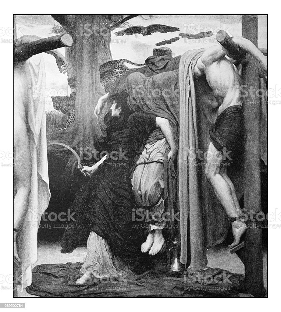 Antique dotprinted photograph of painting: Crucifixion stock photo
