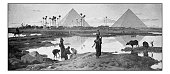 Antique dotprinted photograph of painting: Egypt