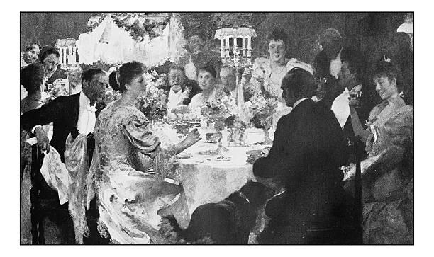 antique dotprinted photograph of painting: elegant dinner table - hochzeitsbilder stock-fotos und bilder