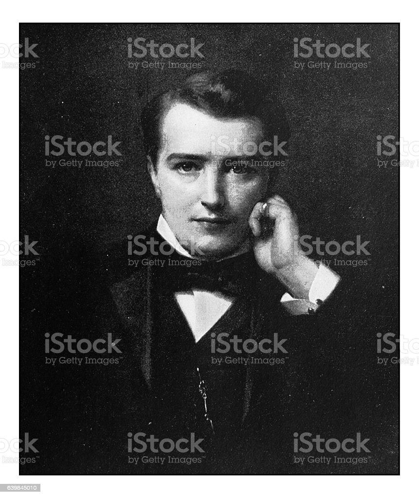 Antique dotprinted photograph of painting: Man portrait Edward Heron Allen stock photo