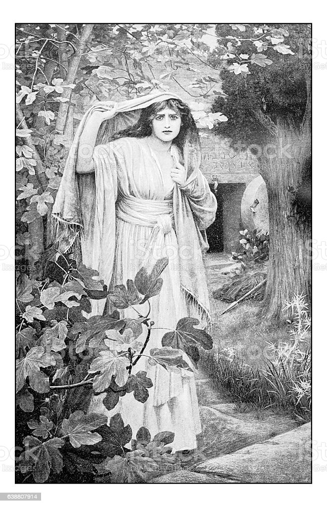 Antique dotprinted photograph of painting: Mary Magdalene stock photo
