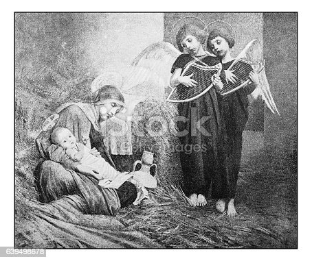 istock Antique dotprinted photograph of painting: Nativity and angels 639498678