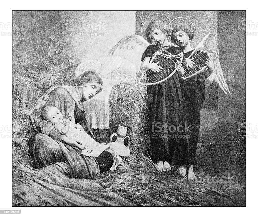 Antique dotprinted photograph of painting: Nativity and angels stock photo
