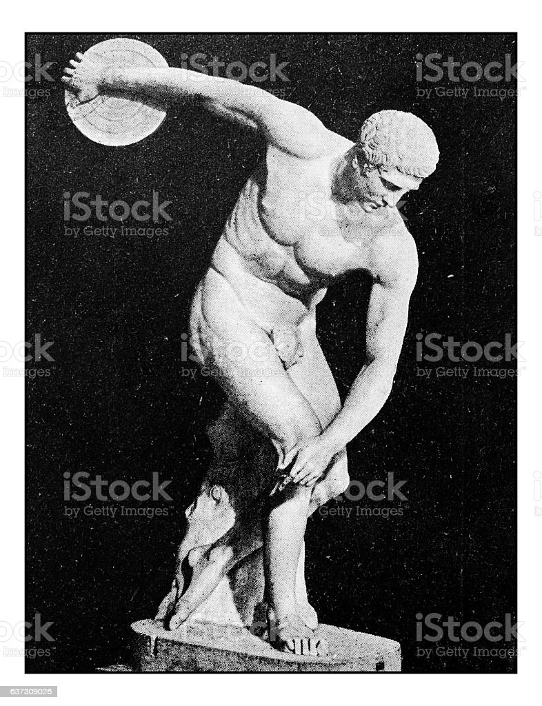 Antique dotprinted photographs of Italy: Discobolus stock photo