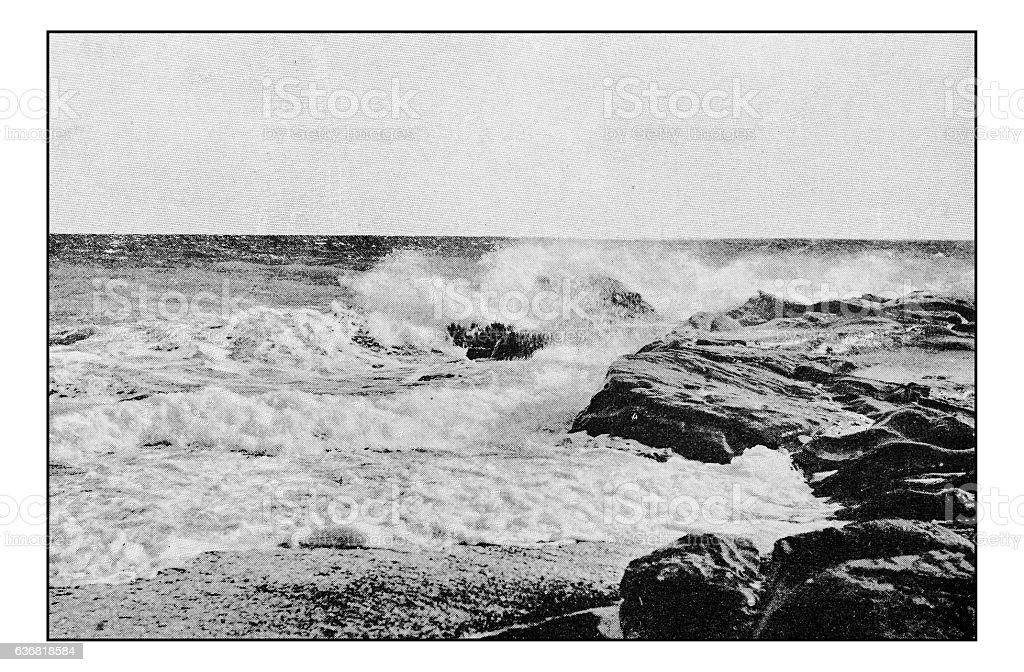 Antique dotprinted photographs of Italy: Liguria, Bordighera Sea stock photo