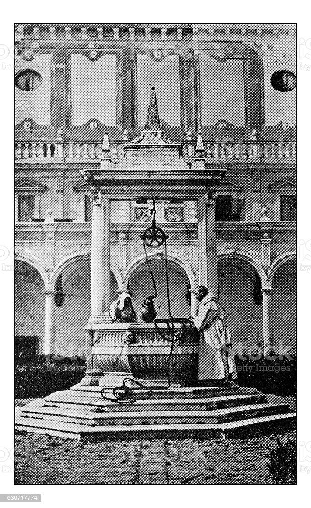 Antique dotprinted photographs of Italy: Naples, Chiostro di San Martino stock photo
