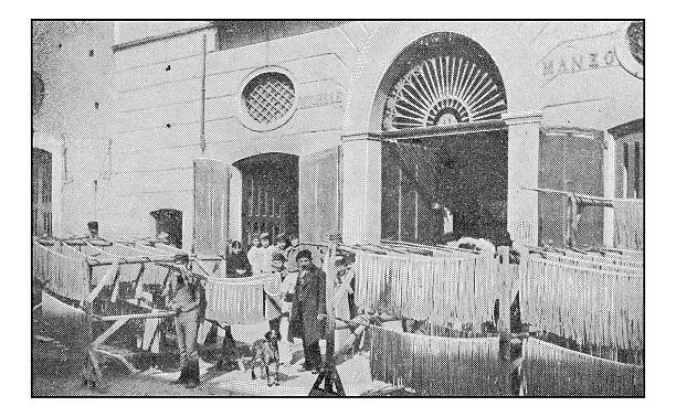 Antique dotprinted photographs of Italy: Naples, Pasta Factory Antique dotprinted photographs of Italy: Naples, Pasta Factory pasta photos stock pictures, royalty-free photos & images