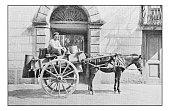 Antique dotprinted photographs of Italy: Naples, street market milk vendor