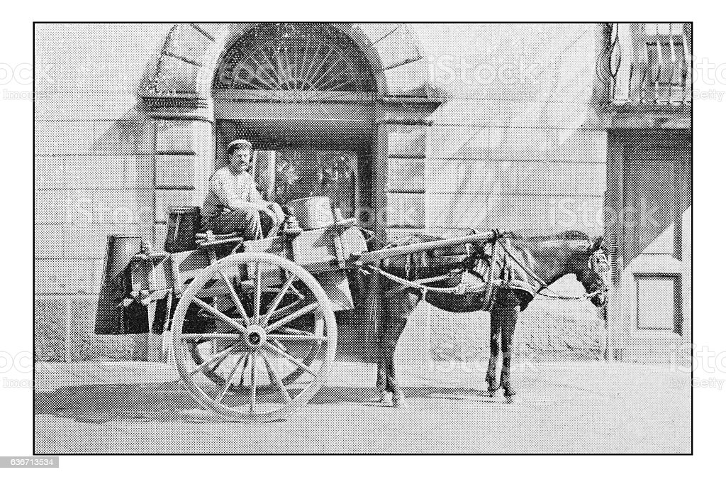 Antique dotprinted photographs of Italy: Naples, street market milk vendor stock photo