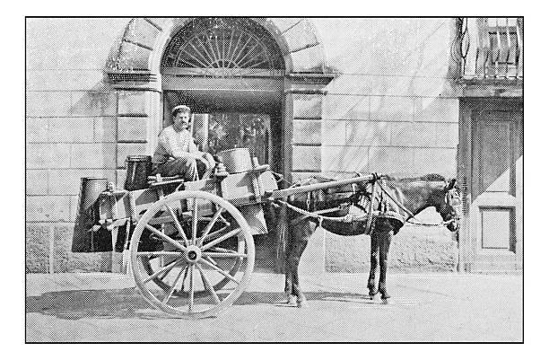 Antique dotprinted photographs of Italy: Naples, street market milk vendor - Photo