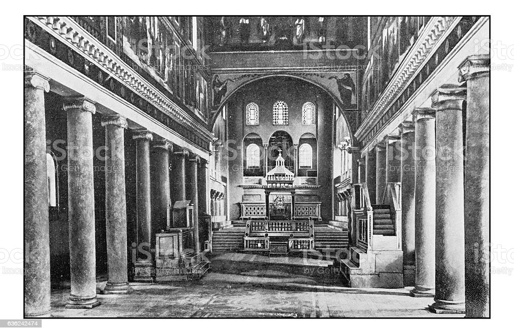 Antique dotprinted photographs of Italy: Rome, Basilica of Saint Lawrence stock photo