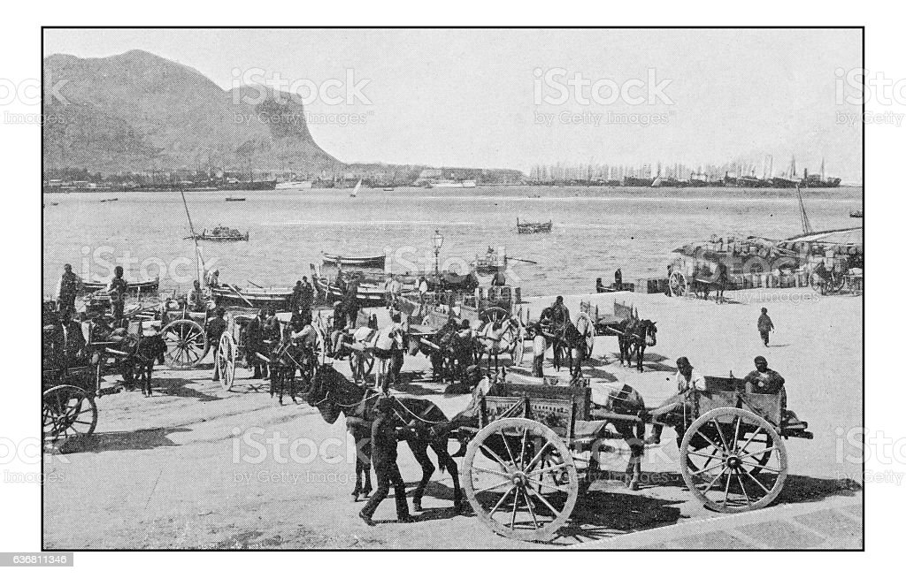 Antique dotprinted photographs of Italy: Sicily, Palermo stock photo