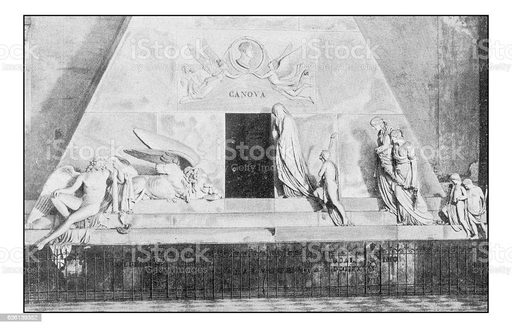 Antique dotprinted photographs of Italy: Venice, Canova tomb stock photo