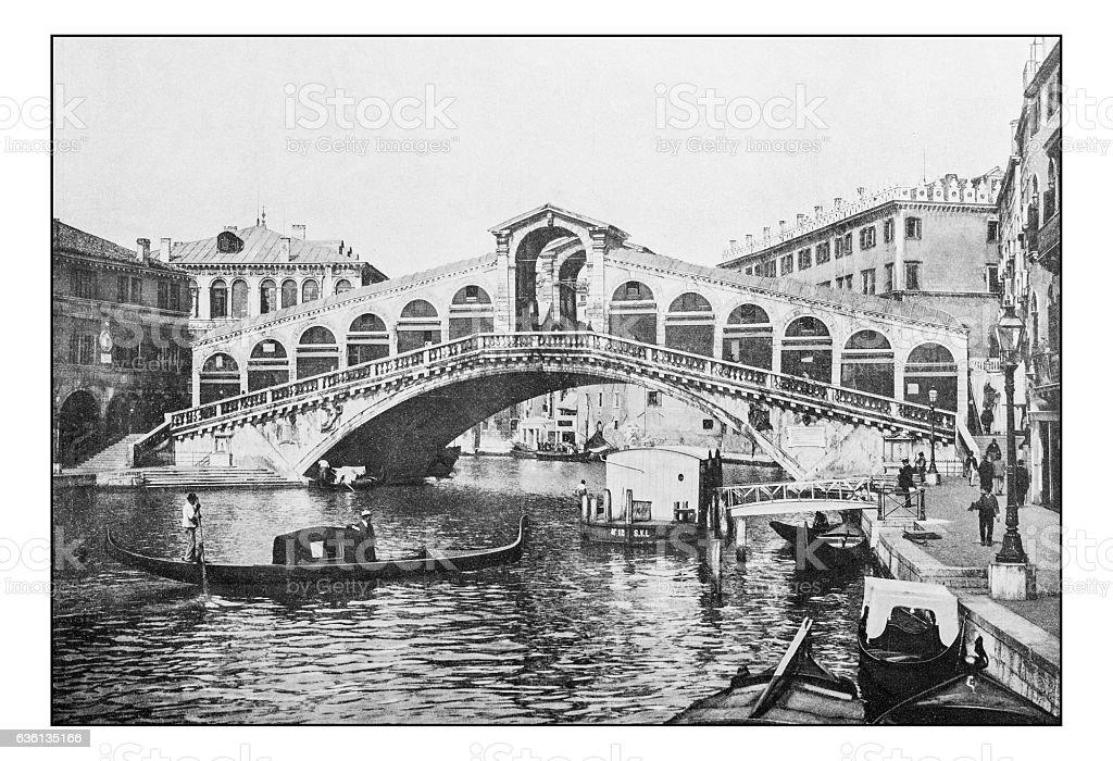 Antique dotprinted photographs of Italy: Venice, Rialto bridge stock photo