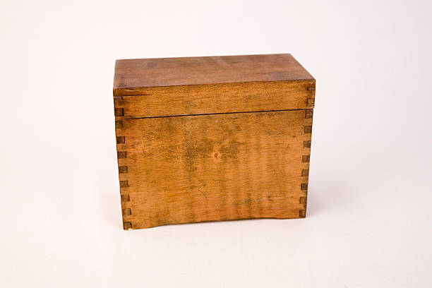antique dovetail recipe box stock photo