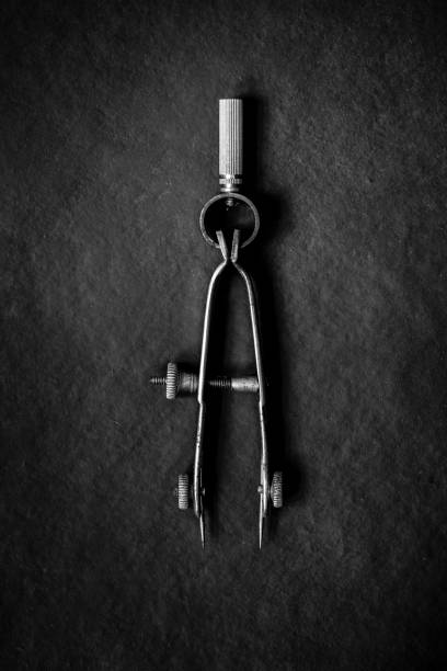 Antique Drafting Tool in Black and White stock photo