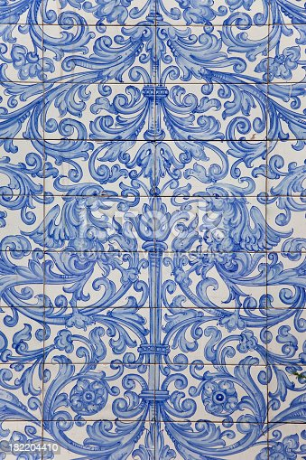 Antique Dutch Delft Design On Blue Tiles Stock Photo Amp More Pictures Of