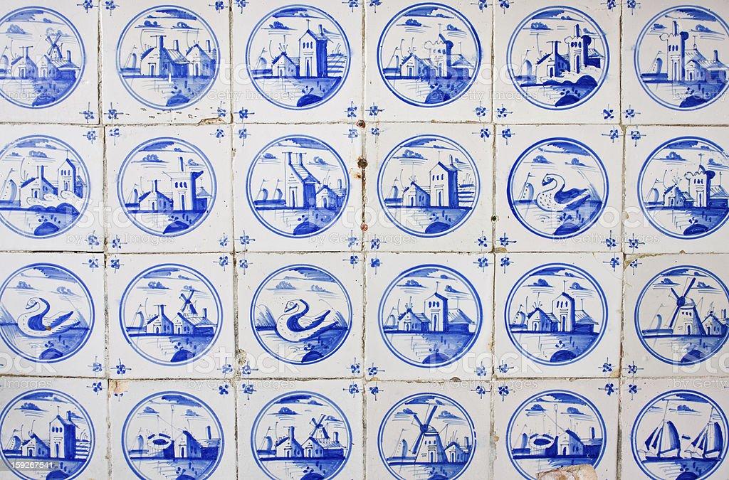 Antique dutch tiles royalty-free stock photo